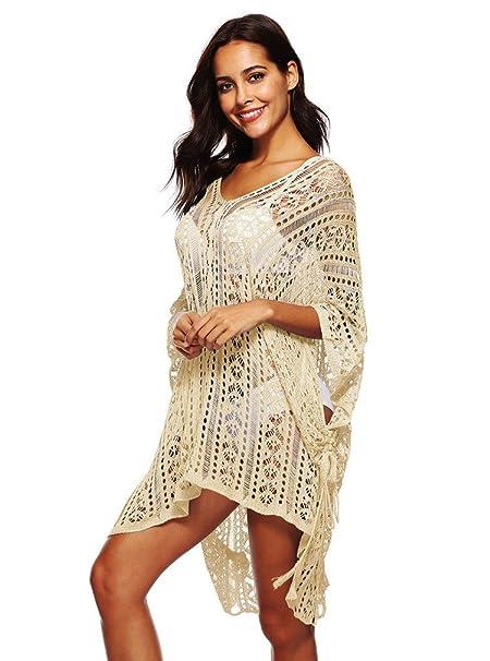PassMe Vestido de Playa Mujer de Punto Ganchillo Hueco Traje de Baño Cubierta de Bañador Camisola