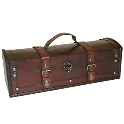 Rustic Hand Crafted Antique Look Wooden Long Pirate Treasure Chest Trinketstorage Box With Handle Approx Length 35cm By Sd