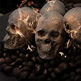 Ceramic Fire Pit Skull   Fireproof Ceramic Decoration for Fire Pits and Fireplaces   Faux Halloween Decor, (Gray, 1-Pack)