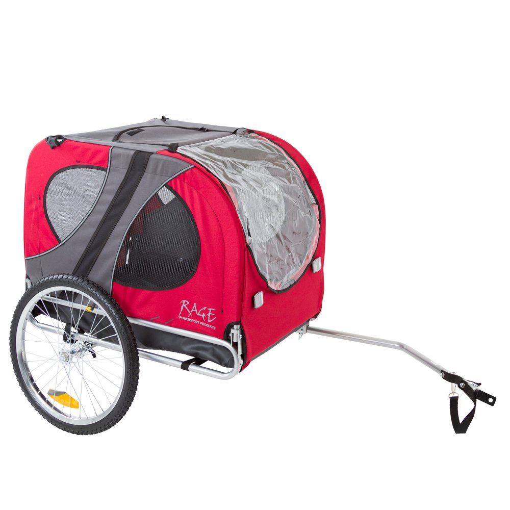 Rage Powersports PT-10117-R Red Pull-Behind Dog Bicycle Trailer with an 85 lb. Capacity