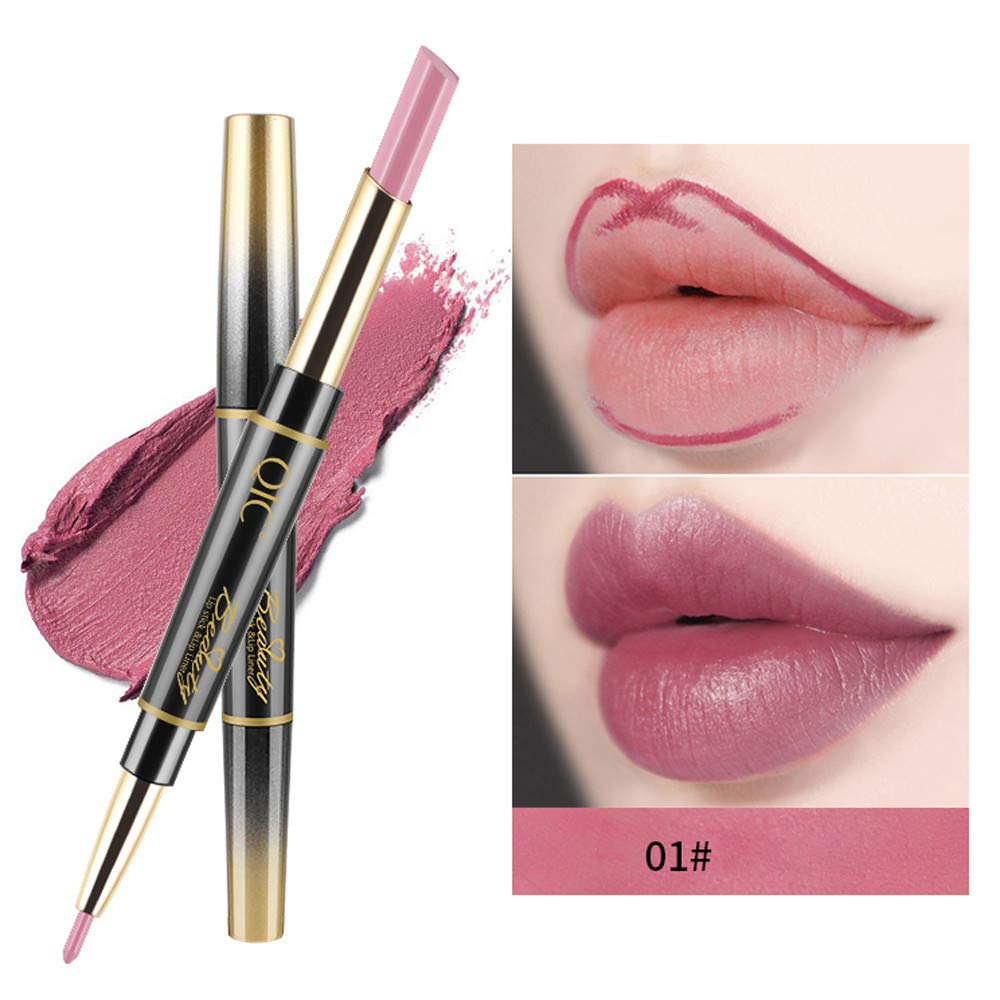 FORUU Women's Lipstick, 2019 Valentine's Day Surprise Best Gift For Girlfriend Lover Wife Party Under 5 Free delivery Double-end Lasting Lipliner Waterproof Lip Liner Stick Pencil 14 Color