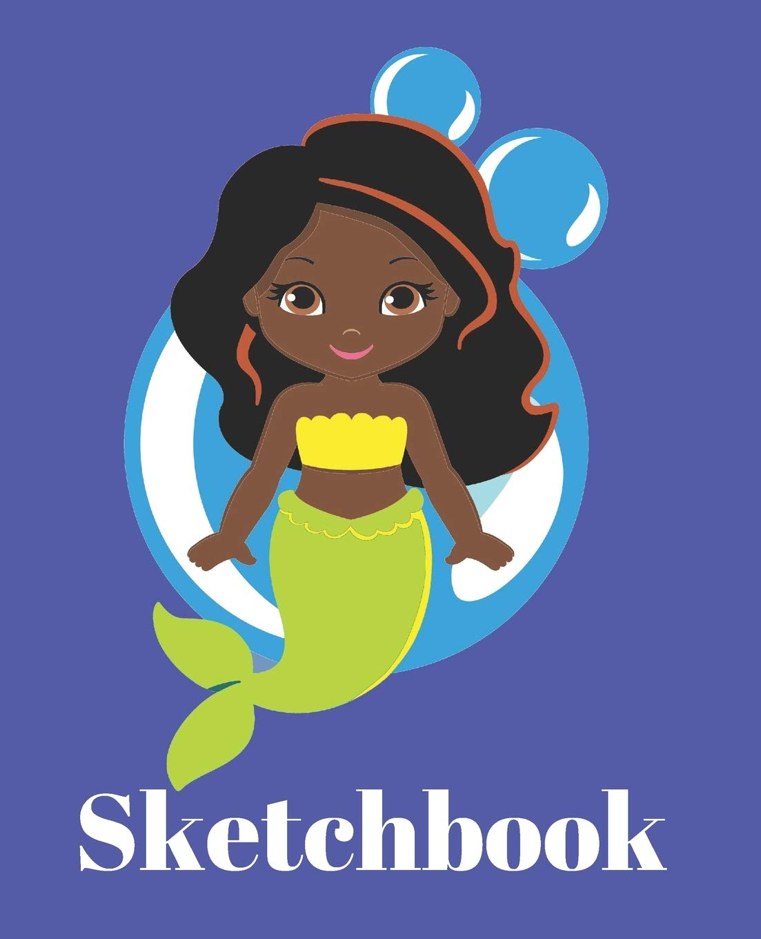 Cute Black Hair Brown Eyes Modern Mermaid Lover Gift Sketchbook