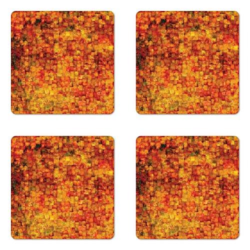 Ambesonne Burnt Orange Coaster Set of Four, Vintage Mosaic Background Quadratic Little Geometric Squares Faded Print, Square Hardboard Gloss Coasters for Drinks, Orange Mustard