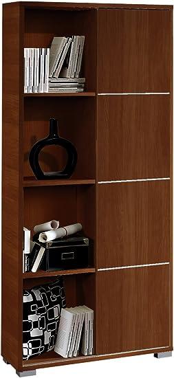 Abitti Librería estantería de pie Color wengué con Puerta corredera y Tiras Decorativas Metalizadas de salón, Comedor o Oficina. 180cm Altura x 80cm ...