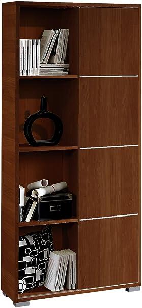 Abitti Librería estantería de pie Color wengué con Puerta corredera y Tiras Decorativas Metalizadas de salón, Comedor o Oficina. 180cm Altura x 80cm Ancho x 32cm Fondo.: Amazon.es: Hogar