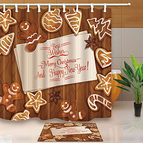 NYMB Kids Decor, Christmas Gingerbread Xmas Tree and Ball on Wooden, 69X70in Mildew Resistant Polyester Fabric Shower Curtain Suit With 15.7x23.6in Flannel Non-Slip Floor Doormat Bath Rugs (Breads Xmas)