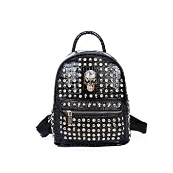 Backpacks Backpack Bag Rivet Pu Skull Womens Black Women Girl Women's Bags
