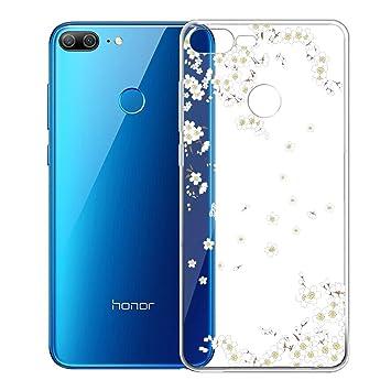 LJSM Funda Huawei Honor 9 Lite Flor de Pera Blanca Transparente ...
