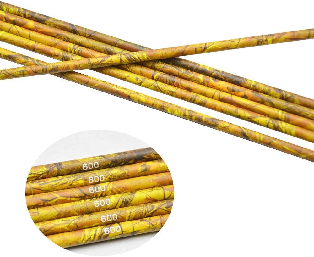SHARROW 12//24 St/ücke Carbonpfeile Schaft Pure Carbon Pfeilschaft 30 Zoll 600 Spine Camo Carbonschaft ID 6.2mm Kohlenstoff Pfeilsch/äfte f/ür DIY Hausgemachte Pfeile