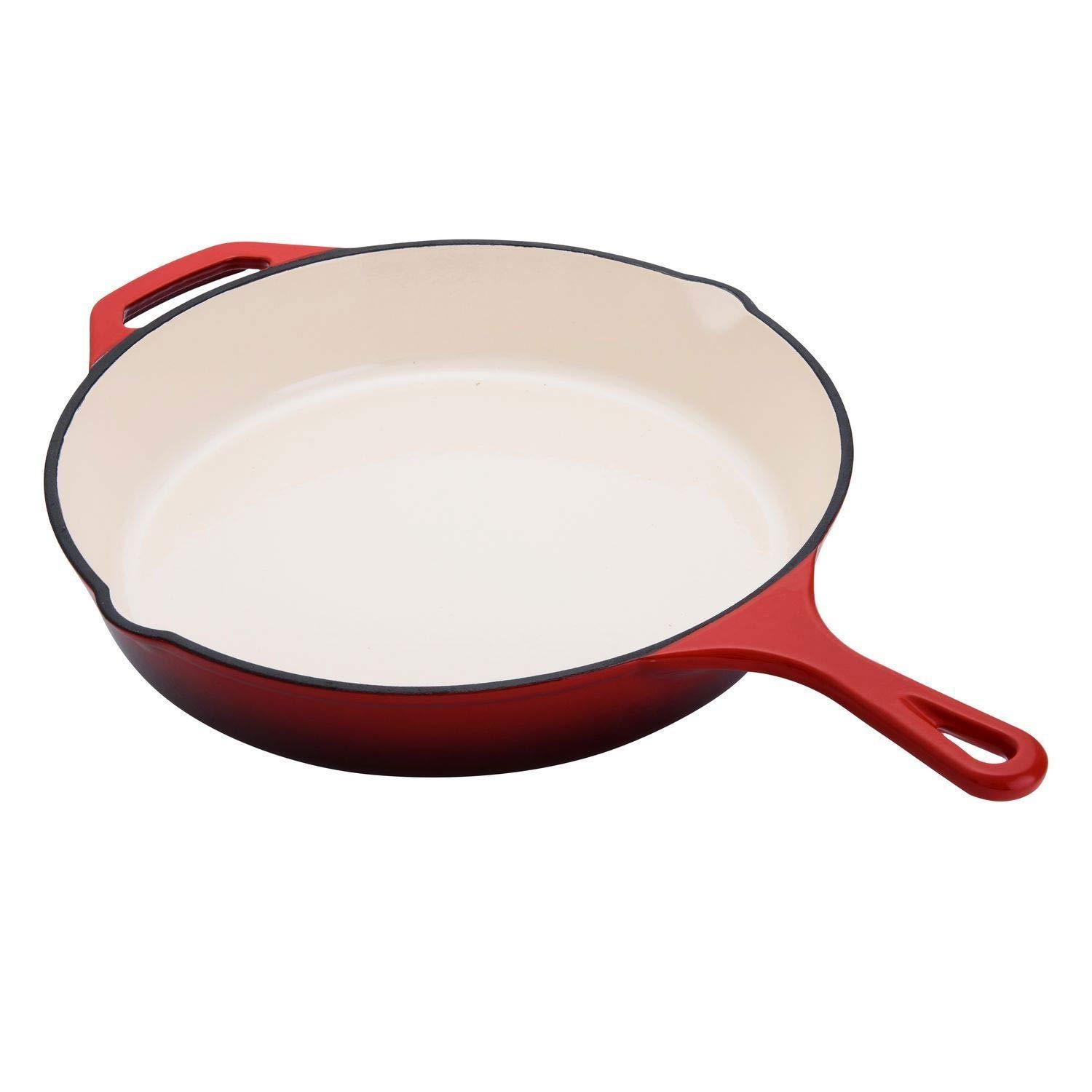 12 Inch Enameled Coated Solid Cast Iron Frying Pan Skillet, Red