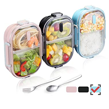 WORTHBUY Bento Lunch Box for Kids, 2 Compartments Stainless Steel Square Lunch Box with Portable Cutlery, Portion Control Food Storage Container Leakproof, BPA Free(Blue)