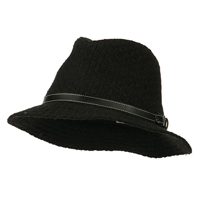 b5de5a1b5d0 Knit Panama Hat with Leather Band - Black OSFM at Amazon Women s ...
