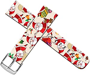 Strap Compatible for Apple Watch Series SE/6/5/4/3/2/1 42mm/44mm - ENDIY Designer Leather Band Replacement for Iwatch - Xmas Christmas Theme Design Pattern Christmas Father