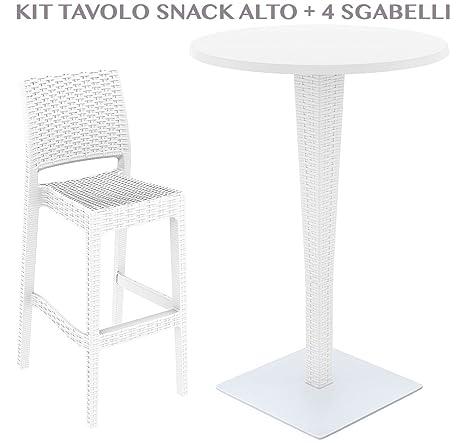 Tavolo Snack Con Sgabelli.Tavolo Snack Alto Rotondo Con 4 Sgabelli Da Giardino Effetto