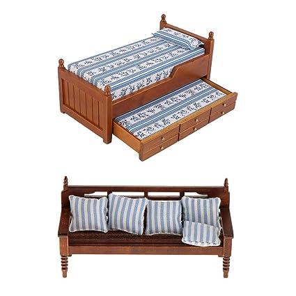 Furniture kesoto 1:12 Dollhouse Miniature Wooden Bedroom ...