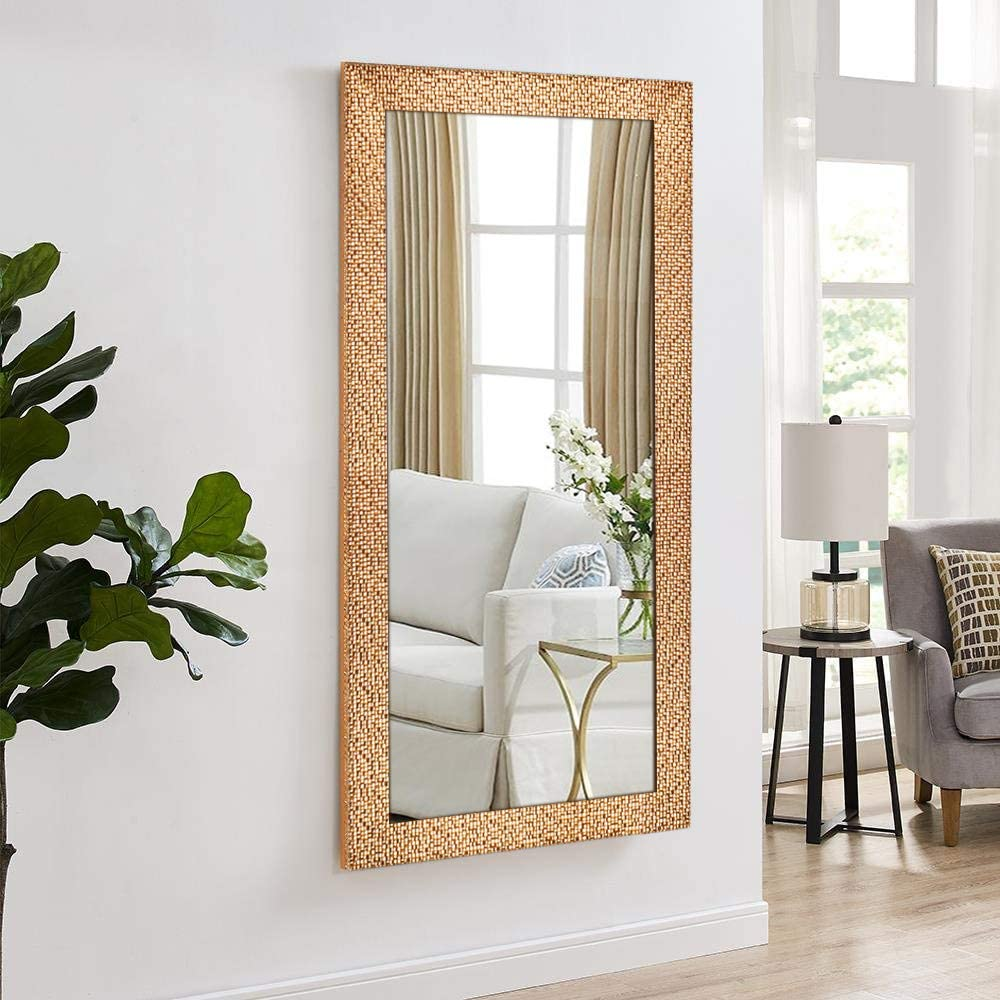 Hans Alice Large Rectangular Bathroom Mirror, Wall-Mounted Wooden Frame Vanity Mirror 47 x28 Corn Gold