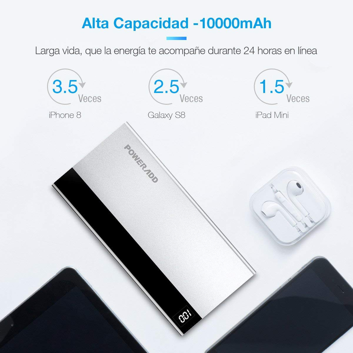 Poweradd USB Type-C Power Bank de 10000mAh con Pantalla LED Digital Cargador Portátil Type C de Entrada y Salida (Cable USB Tipo C y Micro Cable Incluidos)