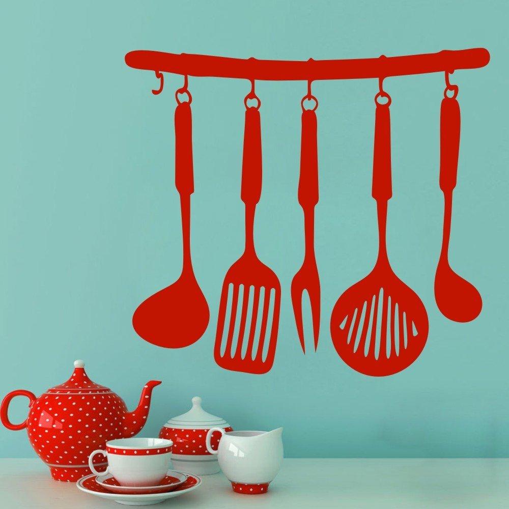 Amazon.com: Kitchen Utensils Wall Decal & Cooking Utensils - Fork ...