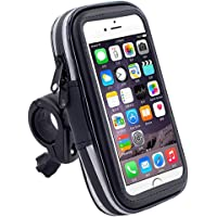 RUISIKIOU 360 Degrees Rotatable Waterproof Bike Bicycle Phone Mount Holder with Transparent Touchable Phone Case for Smartphones GPS and Other Compatible Devices (Small)