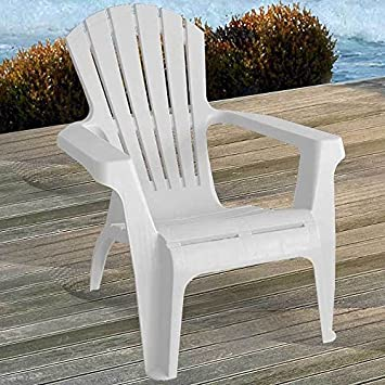Merveilleux 2x Adirondack Garden Chairs, Stackable, Plastic / White