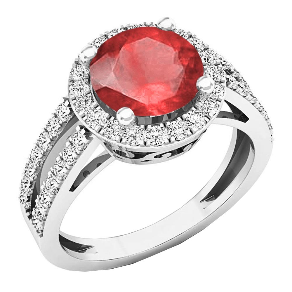Sterling Silver 8 MM Round Lab Created Ruby & Diamond Halo Engagement Ring (Size 6)