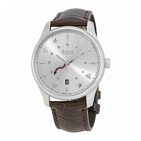 Gucci g-Timeless plata Dial Automático Mens Reloj de piel ya126332