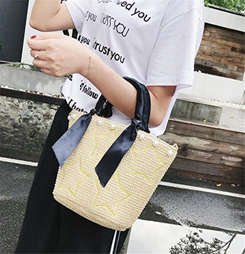 Handbag Beach Diagonal Literary Brown Travel ELEGENCE Z Shoulder Simple Straw Bag xzqpw7BwXI