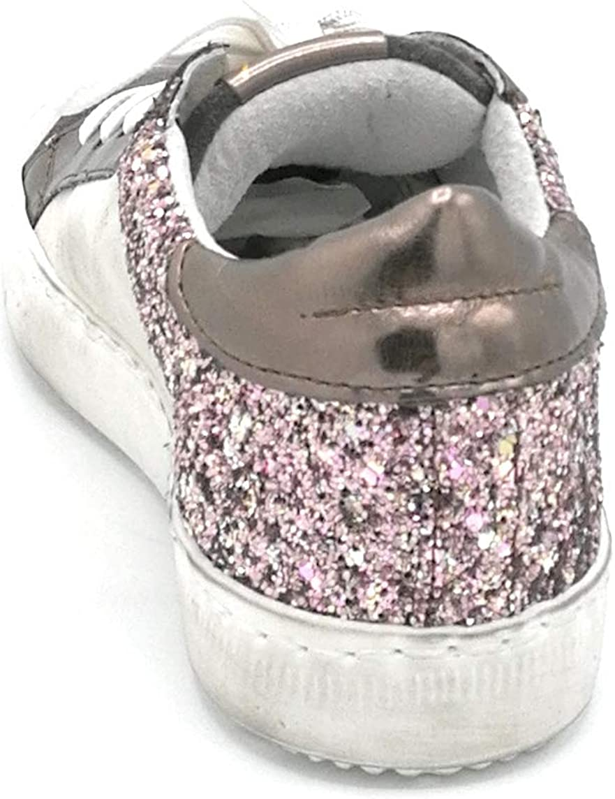 Ovye AM1503 sneaker lacci crosta asfalto lame pirite glitter rosa stella bronzo