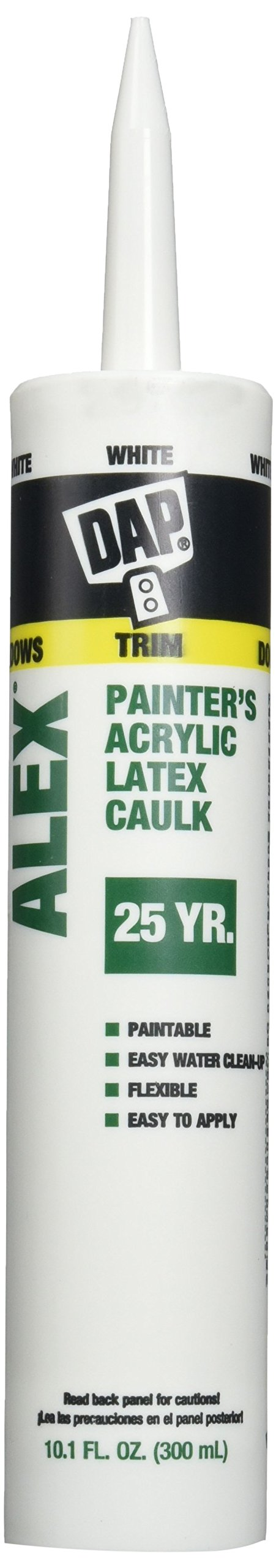 Dap 18670 Alex White Painter's Acrylic Latex Caulk and Silicone Sealant, Case of 12-10.1-Ounce Cartridges