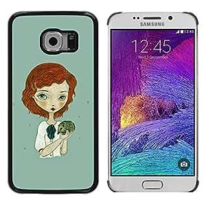 Paccase / SLIM PC / Aliminium Casa Carcasa Funda Case Cover para - Ginger Girl Green Hedgehog Art - Samsung Galaxy S6 EDGE SM-G925