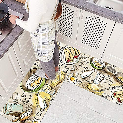 Ustide Rubber Backed Fancy Moroccan Runner Non-Slip Rug-Pizazz Collection Kitchen Dining Living Hallway Bathroom Pet Entry Rugs (17.7″x31.5″+17.7″x47.2″, Food Diary)