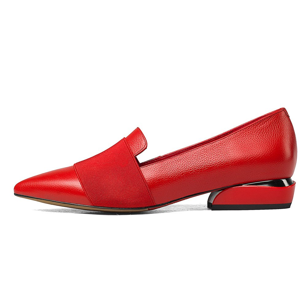 Nine Seven Women's Pointed Toe Flats - Low Heel Slip On Handmade Leather Dress Business Pumps Shoes B0716C4LV7 10.5 B(M) US|Red
