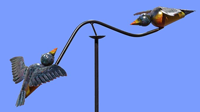 Gartenstecker Gartenpendel Garten Kunst ❤ Blaue verliebte V/ögelchen ❤ Windspiel V/ögel Windspiel Pommerntraum Gartendeko
