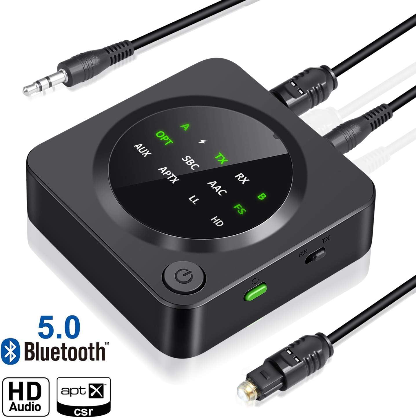 UZOPI Receptor Transmisor Bluetooth 5.0 2 en 1 | Adaptador Óptico de Audio 65 Pies de Largo Alcance Inalámbrico AaptX de Baja Latencia HD para TV PC Sistema de Estéreo para Automóvil para el Hogar