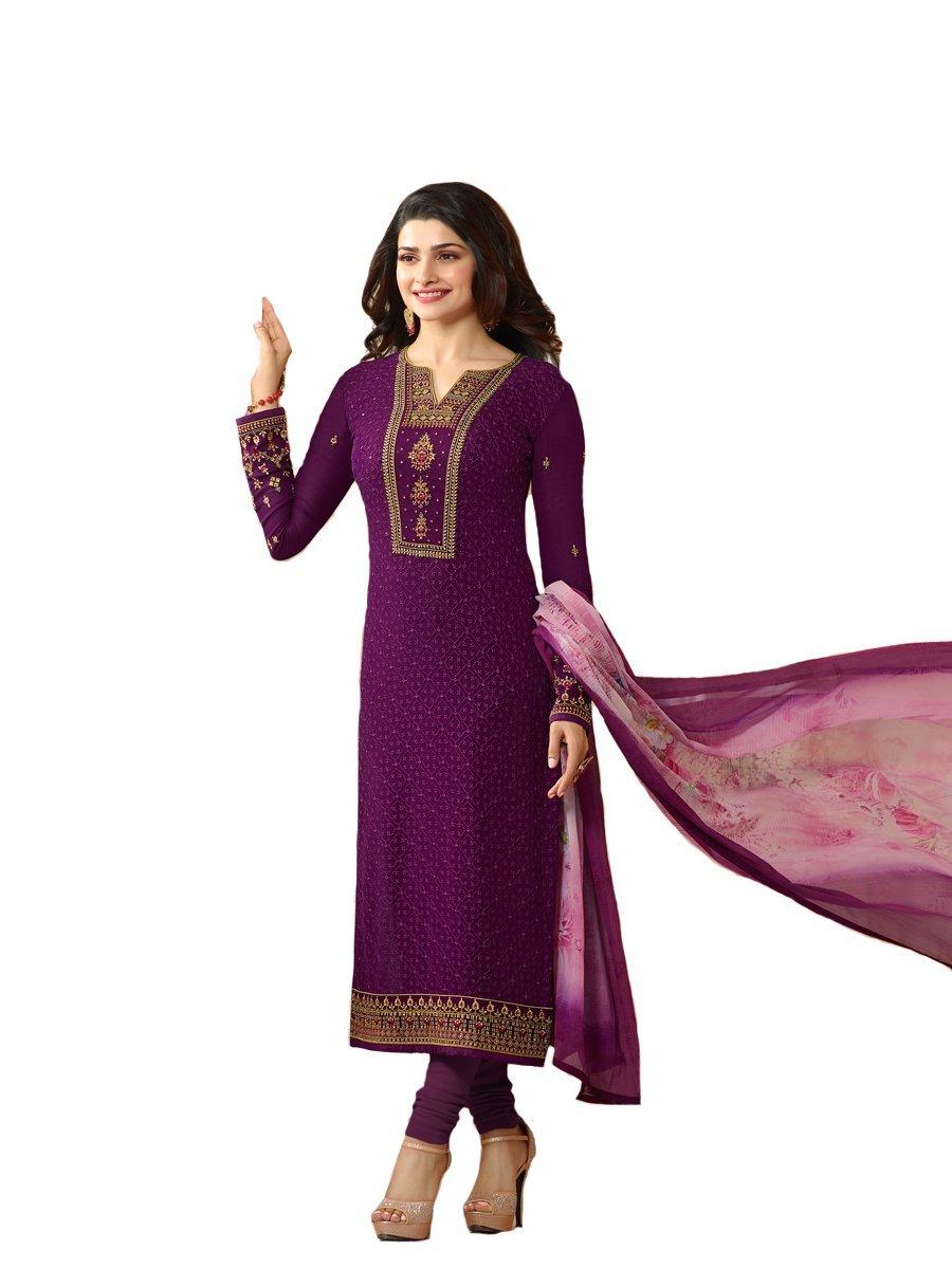 Ready Made Designer Indian Wear Straight Salwar Kameez Party Wear Timeless (Purple, XX-LARGE-46)