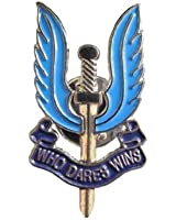 Military SAS Who Dares Wins Badge. Blue Enamel Pin
