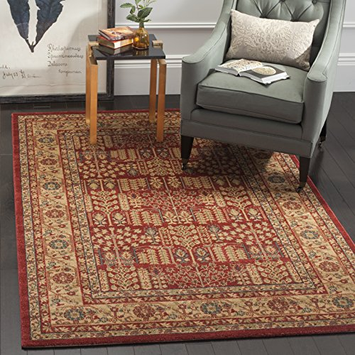 Safavieh Mahal Collection MAH697A Traditional Oriental Red and Natural Area Rug (4' x 5'7