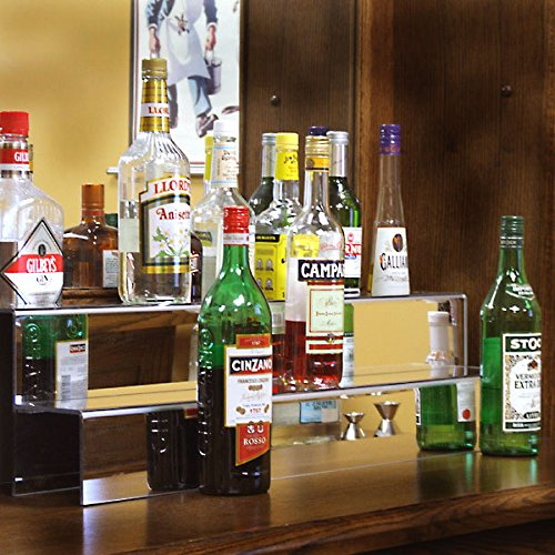 KegWorks 2 Tier Liquor Bottle Step Shelf - Mirror Finish Acrylic - 34 Inches Long ()