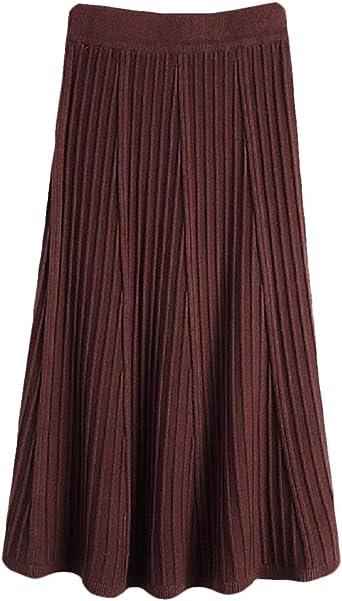BingSai falda suelta plisada para mujer, falda larga con cintura ...