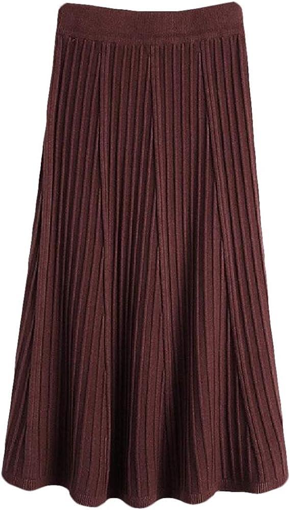 BingSai Falda Suelta Plisada para Mujer, Falda Larga con Cintura Alta