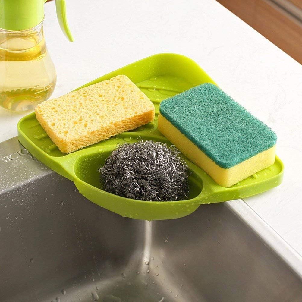 Suntrade 2x Kitchen Sink Corner Storage Rack Sponge Holder Cleaning Brush Holder Bathroom Home Kitchen Dining