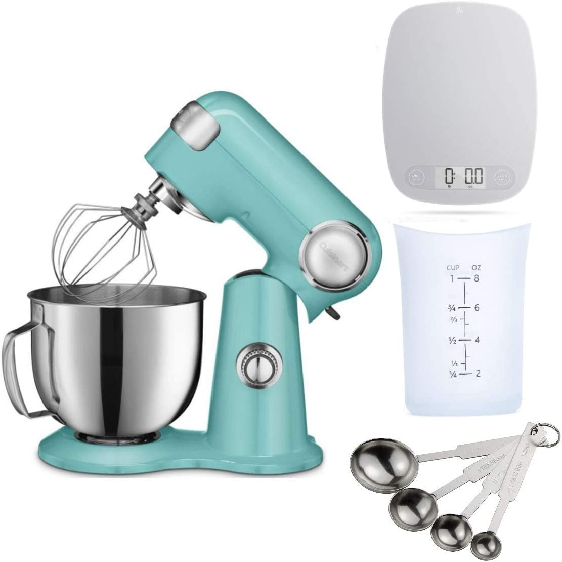 Cuisinart SM-50TQ Precision Master 5.5-Quart Stand Mixer with Kitchen Scale, Measuring Cup and Measuring Spoon Set Bundle (4 Items)