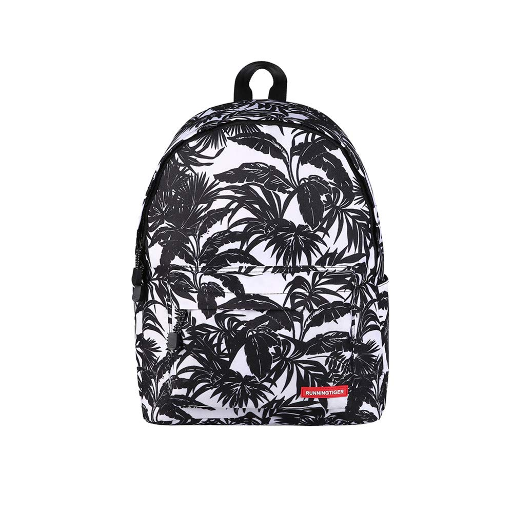 TechCode Hiking Backpack, Unisex Pretty Printing Canvas Zipper Backpack Lightweight Girls Teens Bookbag Travel Shoulder Casual Daypack School Bags Rucksack for Camping Shopping or More(A08)