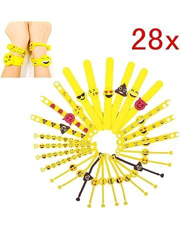 JZK 28 x Emoji Slap Pulsera Goma Banda emoticonos Pulsera Silicona para niños Adultos Fiesta favores