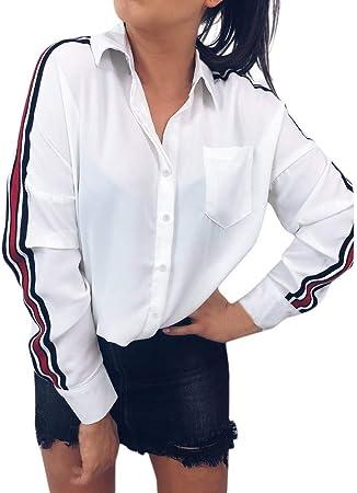 SamMoSon_Femme Camisa de Mujer de Manga Larga en Forma de T a ...