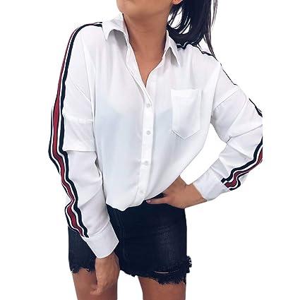 7a646e5eb27a LILICAT® Moda Mujer Botón Casual Cuello de Solapa Rayado Camisa con ...