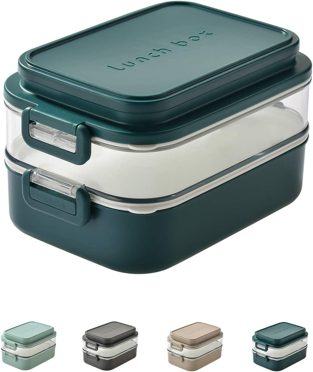 Linoroso-Dual Bento Box for Adults Kids Modern Stackable Lunch Box Meet ALL On-the-go Needs for Lunch Container,Salad Container for Lunch, Snack Box Food Grade Safe PP Material(PEACOCK GREEN)