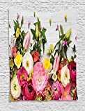 TAMMY CHAPPELL Easter Tapestry, Flowers Blooms Frame on White Timber Background Valentines Romance Petal Picture, Wall Hanging for Bedroom Living Room Dorm, 60WX80L Inches, Pink Green