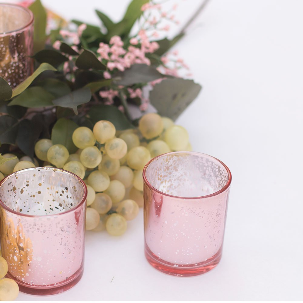 Just Artifacts Mercury Glass Votive Candle Holders 3'' H Speckled Blush (Set of 25) - Mercury Glass Votive Candle Holders for Weddings and Home Décor by Just Artifacts