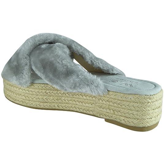 New Womens Ladies Faux Fur Platform Espadrilles Slip On Shoes Sandals Flats  Size 3-8: Amazon.co.uk: Shoes & Bags